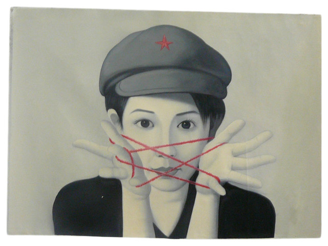 Oil Paint Canvas Art Portrait Red Star Wall Decor asian-wall-decor