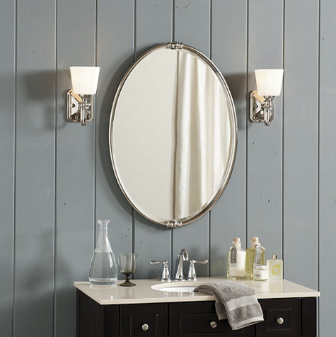Lastest Patterned Tiles Around The Mirror Serve As A Oneofakind Frame This Lightfilled Bathroom Mixes Several Tile Colors And  White Tiles Arranged In A Vertical