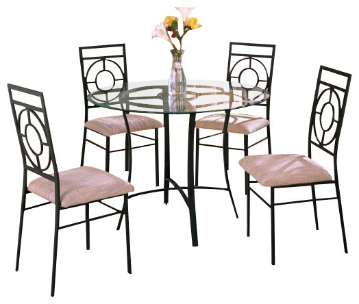 5 Piece Metal And Glass Dining Table Set With Fabric Upholstered Seat Chairs