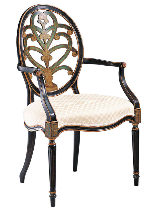"Inviting Home - Hand-painted English Style Armchair - Hand-painted English style beechwood armchair; seat is 24-3/4""W x 22""D x 20""H; back is 41""H; arms are 27-3/4""H; hand-crafted in Italy; Hand-painted English style chairs with carved oval back-splat antiqued black and green finish on the front and the back. Chairs have a gold leaf accents and ivory upholstery. These carved wood chairs are hand-crafted in Italy."