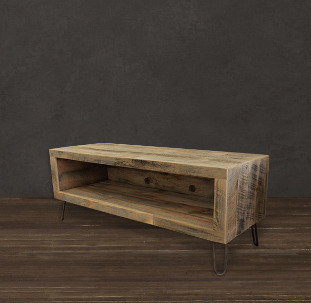 Small console reclaimed wood media entertainment stand Modern media console