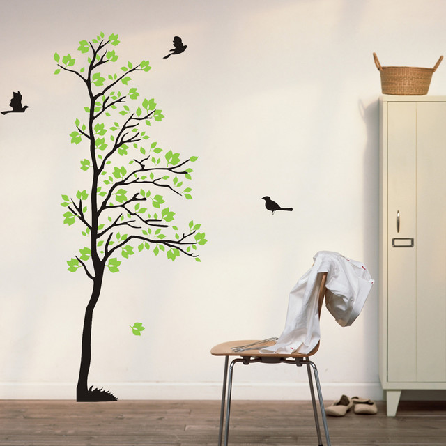 Wall Art Trees Green : Wall decals tree flying birds art green leaves nature