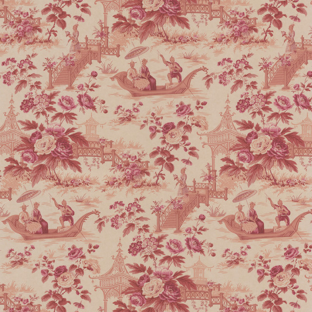 Red Chinoiserie Toile Wallpaper - Contemporary - Wallpaper - by ...