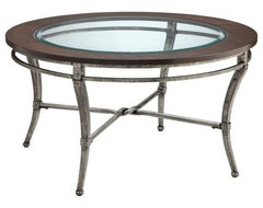 Stein World Verona Round Metal with Wood and Glass Top Coffee Table modern-coffee-tables