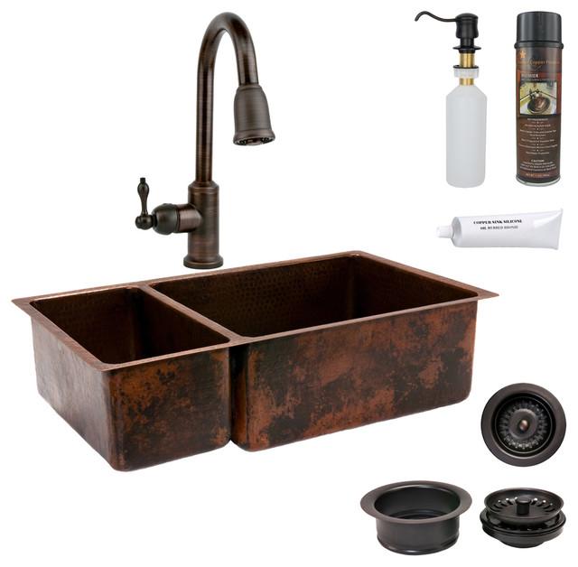 33 Quot Copper Kitchen 25 75 Sink W Orb Faucet Rustic