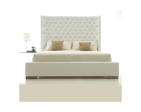 Sasha Bed by H Studio - The Sasha bed is shown fully upholstered in vinyl with button tufting, perfect for adding sophisticated elegance to any bedroom.