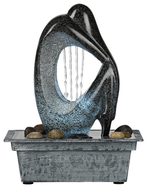 Modern Silhouette LED Indoor/Outdoor Tabletop Fountain - Modern - Outdoor Fountains And Ponds