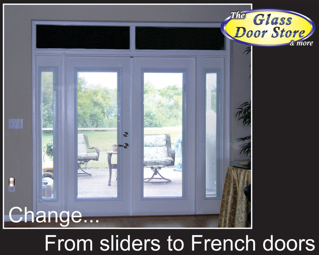 French doors to replace sliding glass doors eclectic for Sliding glass door to french door
