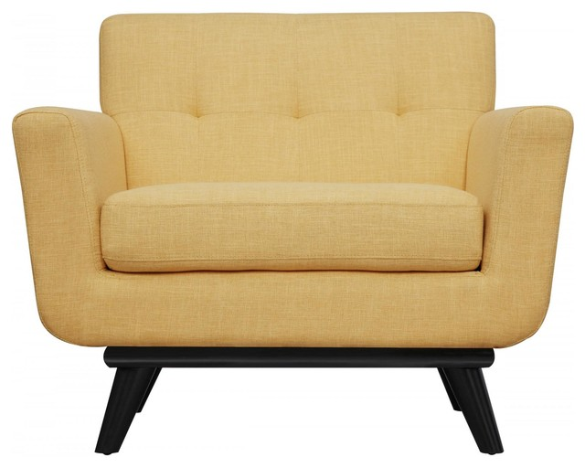 James Chair Mustard Yellow Linen Transitional