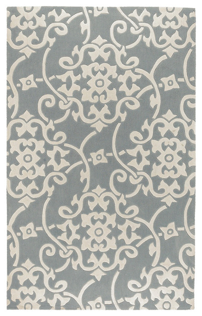 """Surya Cosmopolitan COS-8828 (Silver Gray, White) 2'6"""" x 8' Rug contemporary-hall-and-stair-runners"""