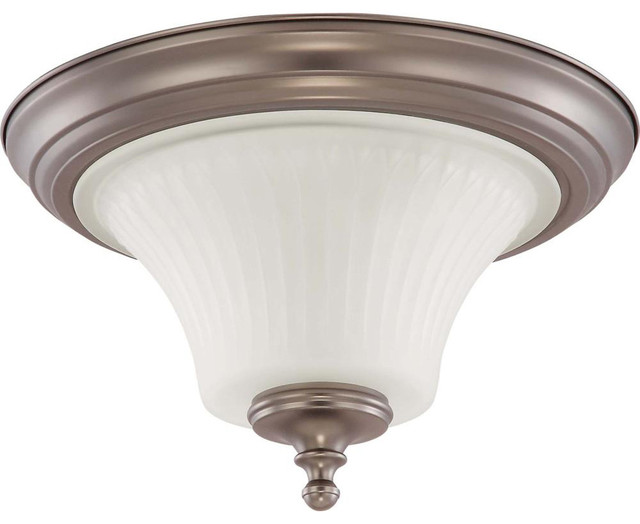 Nuvo Lighting 60-4021 Teller 2-Light Flush Dome Fixture with Frosted Etched Glas transitional-ceiling-lighting