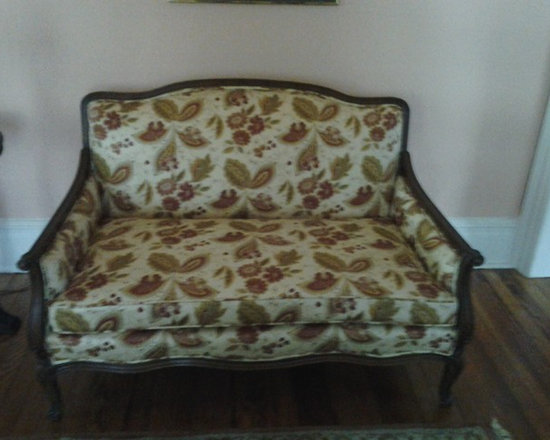 Reuphosltered furniture - Reupholstered - Antique furniture after a fire