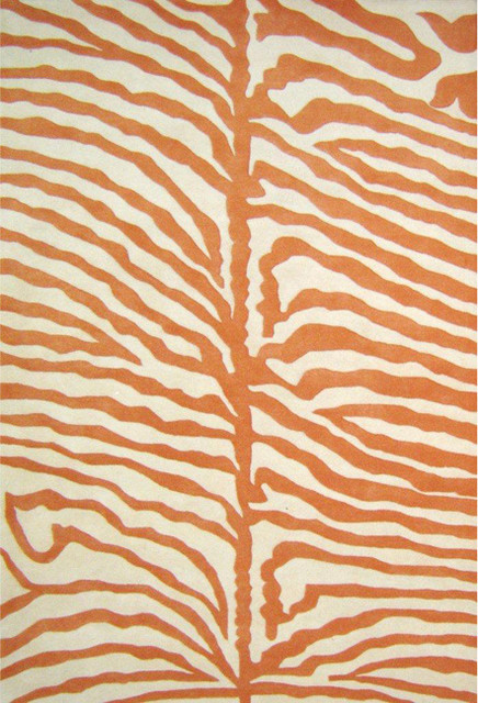 Hand-tufted Orange/ Ivory Zebra Wool Rug contemporary rugs