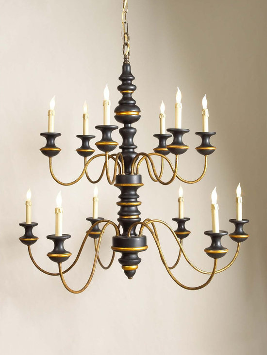 "Chelsea House Stockholm 12-Light Chandelier - Chelsea House's Stockholm Chandelier has a Black & Gold finish. Dimensions: 36"" High by 39"" in Diameter."