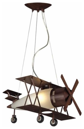Biplane Fighter Pendant, Walnut Finish eclectic-kids-ceiling-lighting