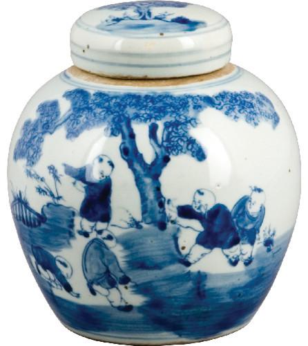 Blue and White Porcelain Jar asian-vases