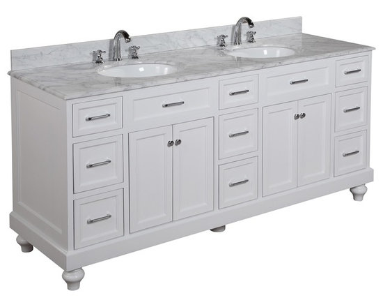 Kitchen Bath Collection - Amelia 72-in Bath Vanity (Carrara/White) - This bathroom vanity set by Kitchen Bath Collection includes a white cabinet with soft close drawers and self-closing door hinges, Italian Carrara marble countertop with stunning beveled edges, double undermount ceramic sinks, pop-up drains, and P-traps. Order now and we will include the pictured three-hole faucets and a matching backsplash as a free gift! All vanities come fully assembled by the manufacturer, with countertop & sink pre-installed.
