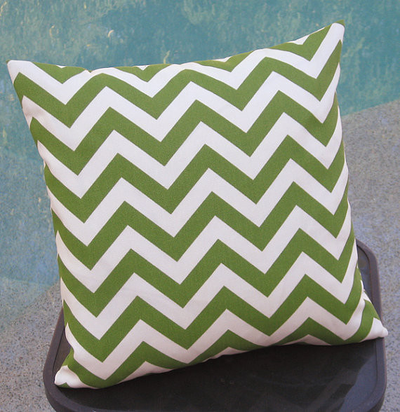 Outdoor Avocado Chevron Pillow Cover by Pillow Peels modern-outdoor-cushions-and-pillows