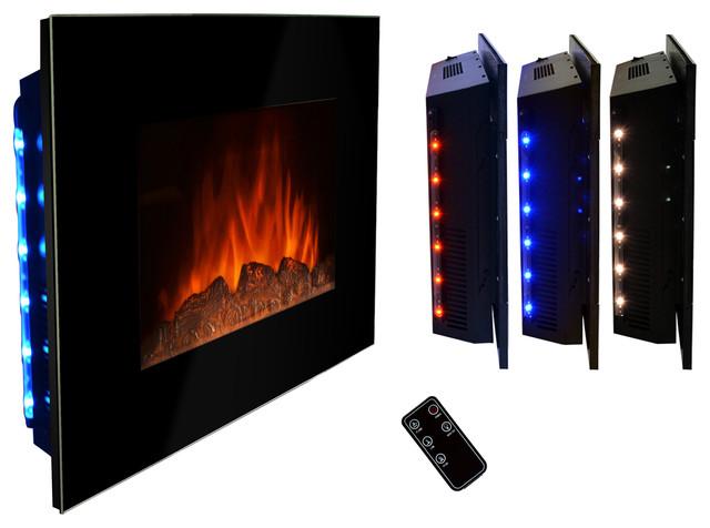 "AKDY AG-Z510ELB Wall Mount Electric Fireplace, Log, 36"" modern-indoor-fireplaces"