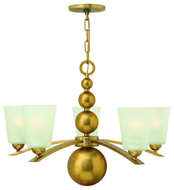 Hinkley Zelda 5-Light Mini Chandelier in Vintage Brass Finish chandeliers