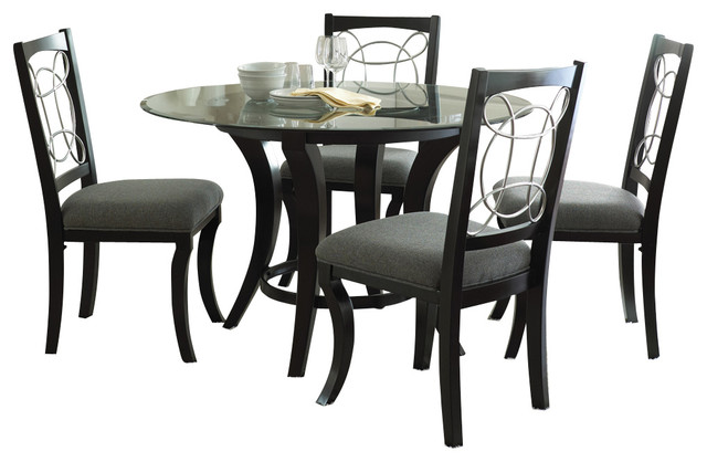 Steve Silver Cayman 5 Piece Round Dining Room Set With