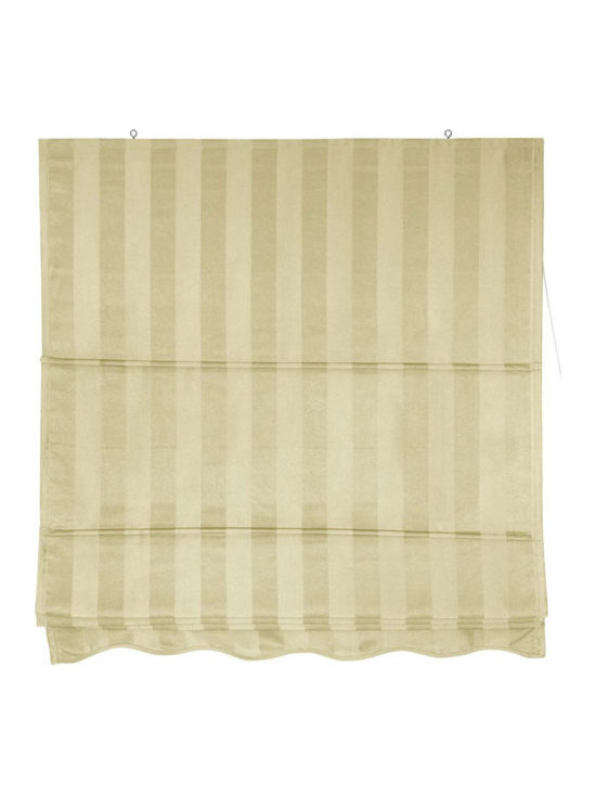 Oriental Furniture - Striped Roman Shades - Cream 60 Inch, Width - 60 Inches - - A simple, beautiful window treatment that's both easy to install and easy to operate. Roman style window blinds are installed right on the wood frame of the window sash, not inside the frame. Choose 2, 3, 4, 5, or 6 foot wide designs, in Cream (shown). Attractive, inexpensive fabric window treatments that install in minutes. The larger sizes make great ceiling mounted room dividers or privacy screens.  Roman style retractable window treatments block light and provide privacy.   Offered in 5 sizes; 2, 3, 4, 5, or 6 feet wide, all are 6 feet long.   Beautiful subtly striped cotton blend fabric in soft cream color.   Simple design is easy to operate and installs in minutes. Oriental Furniture - WT-YJ1-1E-60W