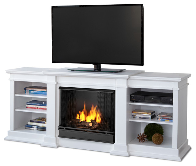 Fresno White Entertainment Unit And Gel Fuel Fireplace Modern Indoor Fire