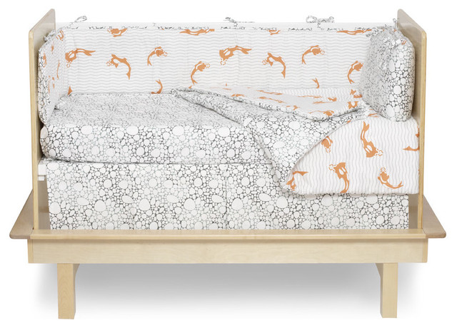 Argington fish and pebbles print organic crib bedding for Fish crib bedding