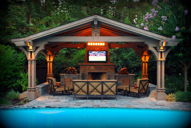 Outdoor patio backyard exterior for Pool pavilion designs