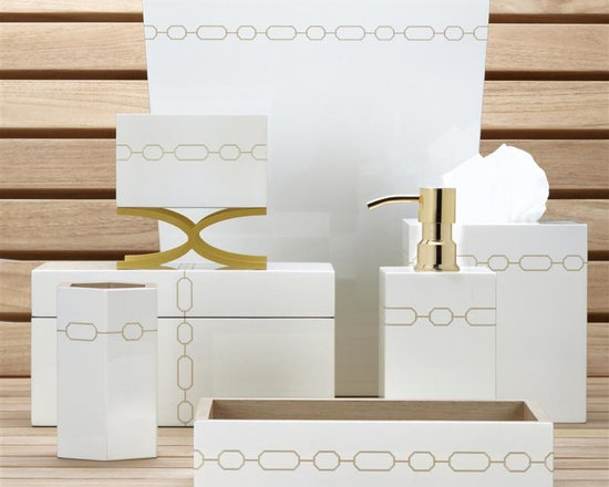 Norma Bath Set, White - Inspired by the boudoirs of Hollywood vixens, the Norma Bathroom Set is made of spun bamboo with hand applied laquer with gold cahin accents.
