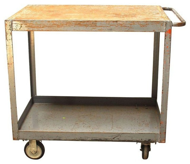 Industrial Rolling Kitchen Cart: Pre-owned Vintage Industrial Mid-Century Rolling Cart