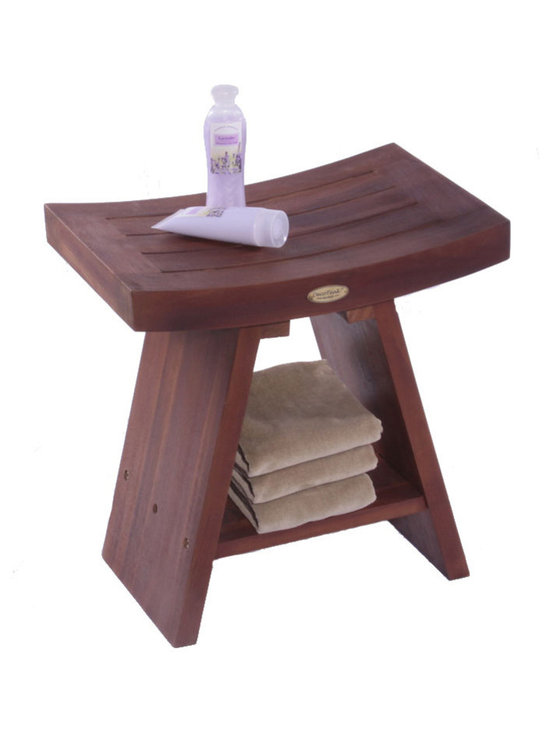 """Hudson Reed - Hudson Reed Asia Teak Serenity Stool With Shelf - Enhance the feeling of calm and relaxation in your new bathroom with the stunning Asia Teak Serenity stool, which features an Asian inspired design. This stylish teak shower stool features an integrated shelf which is perfect for storing your bathroom essentials such as toiletries or spare towels.  Made from solid teak for a feeling of solidity the Asia Serenity stool has a robust and sturdy design and ensures of total comfort. Featuring a unique deep penetrating stain that absorbs into the grain of the wood this stool will resist mildew and mold making it perfect for use in a bathroom environment.  Dimensions: 13"""" depth x 18"""" height x 18"""" wide."""