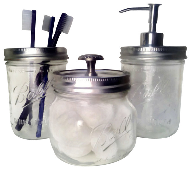 Wide mouth mason jar bath set traditional soap - Bathroom soap and lotion dispenser set ...