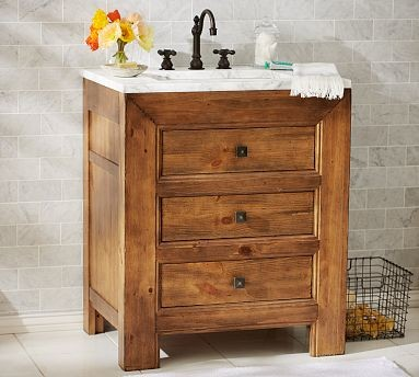 Stella Single Sink Console Weathered Pine Finish