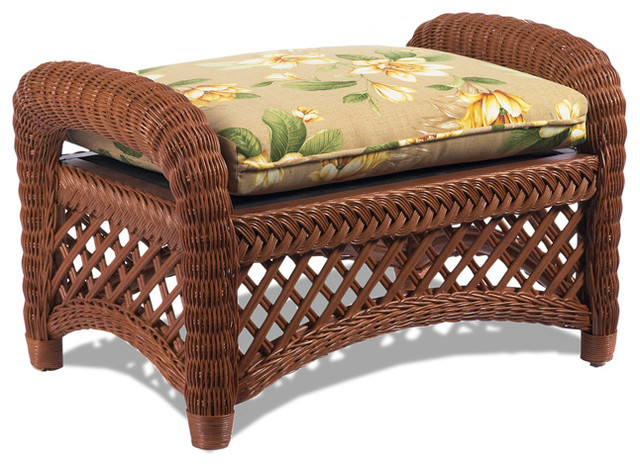 Lanai Brown Wicker Ottoman Tropical Furniture by