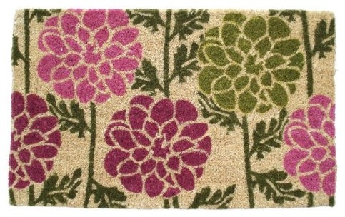 Dahlias 18 x 30 Hand Woven Coir Doormat contemporary-doormats