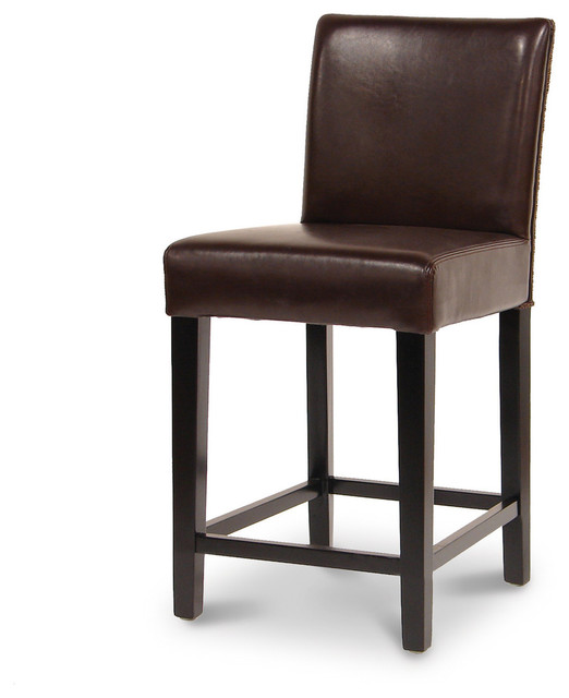 Hudson Leather Woven 24 Barstool Dark Brown