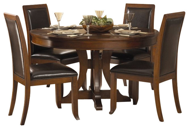 Homelegance avalon 5 piece 54 round pedestal cherry dining table set transitional dining - Pedestal kitchen table set ...