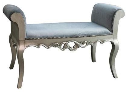 Celine Silver French Velvet Bench - traditional - bedroom benches