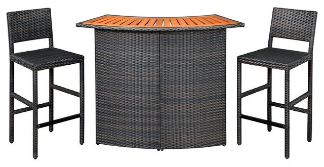 Outdoor Woven Bar and Two Stools contemporary-indoor-pub-and-bistro-tables