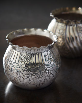 Two Silver-Plated Chased Fern Pots, c. 1880 traditional-indoor-pots-and-planters