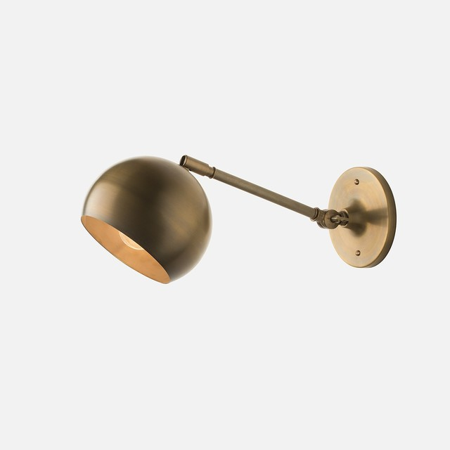 Isaac Sconce, Brass, Long Arm - Modern - Swing Arm Wall Lamps - by Schoolhouse Electric