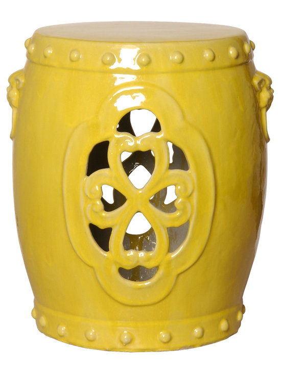 Yellow Clover Garden Stool - This ornate yet monochromatic garden stool lets the light flow through, creating a calming and serene element in any room or patio. Available in a bright punchy tangerine, neutral white or cheery yellow, this stool is sure to enhance any space its in.