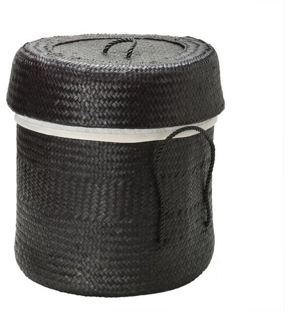 Round Lidded Bamboo Hamper Black Contemporary Hampers