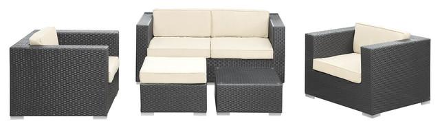 Malibu 5 Piece Outdoor Patio Sofa Set in Espresso White modern-outdoor-lounge-sets