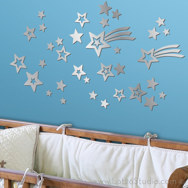 Mirrored Shooting Star Wall Decals kids-mirrors