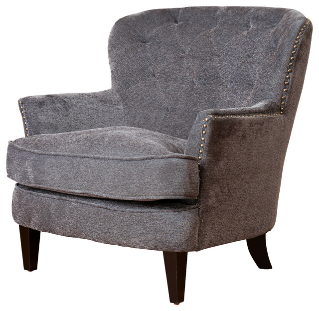 Design upholstered arm chair grey fabric contemporary accent chairs