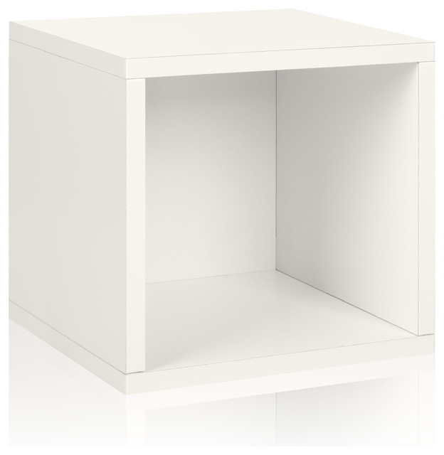 Way Basics Eco Stackable Storage Cube, White modern