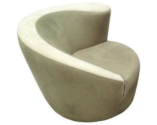 Eco Friendly Furniture and Lighting - United States 20th Century Vladimir Kagan designed Nautilus lounge chair upholstered in a sage green silk velvet fabric. The chair is seating on a corkscrew swivel base which does allows it to swivel to 180 degrees,