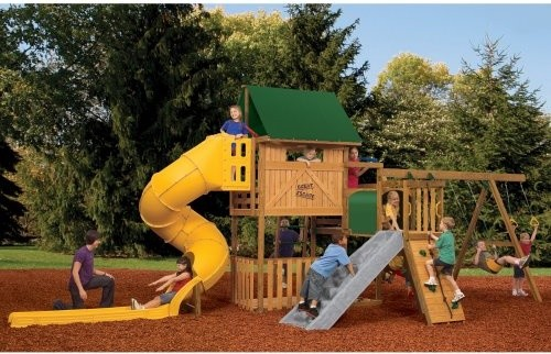PlayStar Playsets Great Escape Wood Swing Set with Adventure Tunnel contemporary-outdoor-playhouses